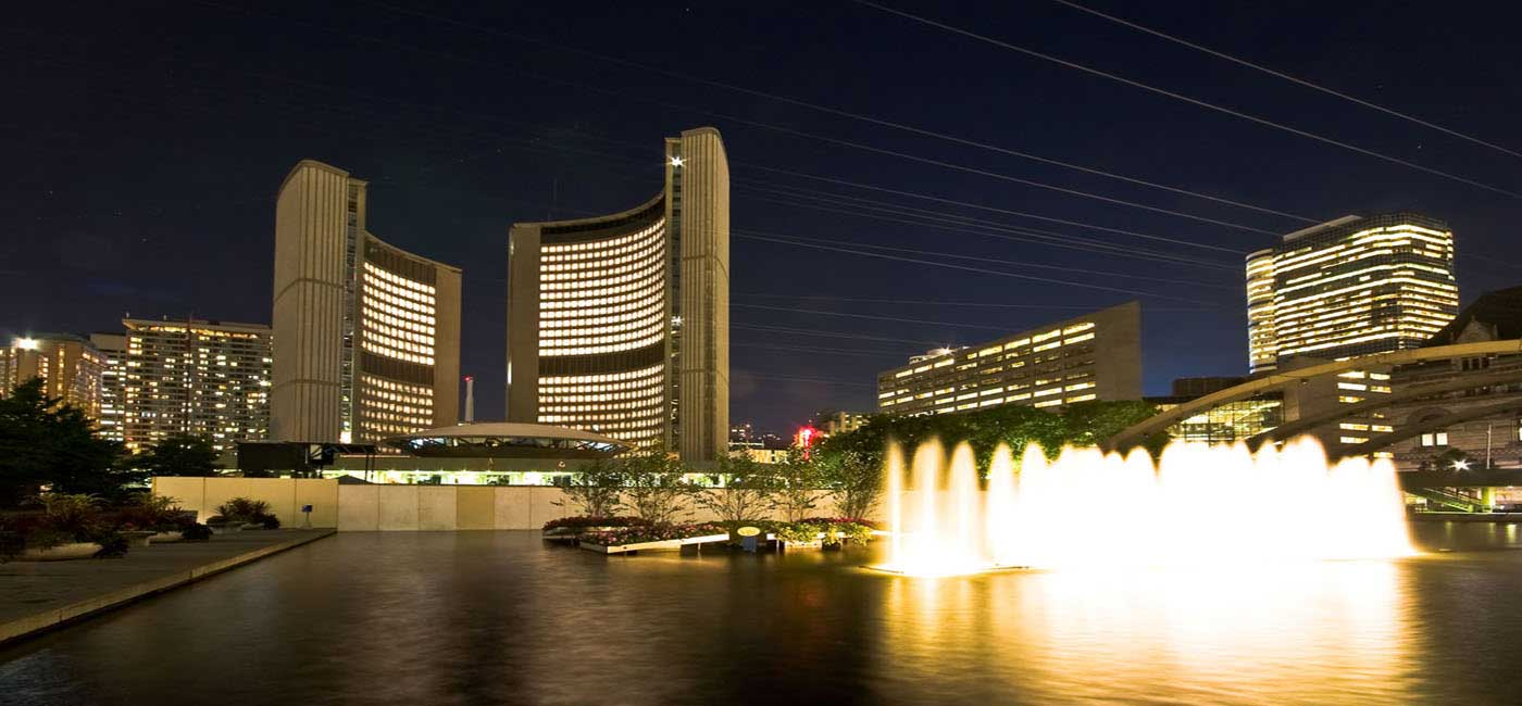 Toronto City Hall and Nathan Phillips Square Nightview