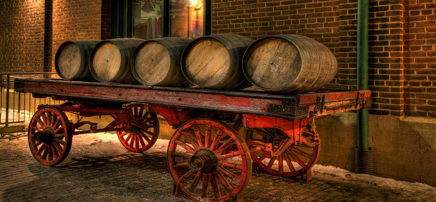 Toronto Distillery District Whiskey Barrels on a Wagon elongated view